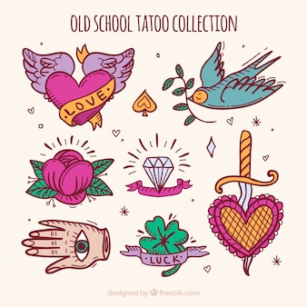 Collection of retro hand painted tattoo