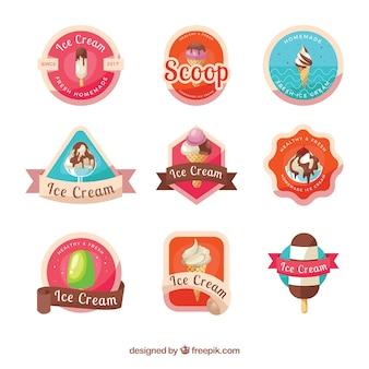 Collection of retro ice cream stickers
