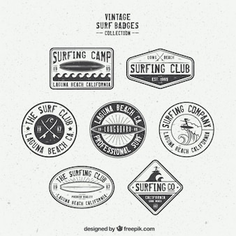 Collection of retro surf badge