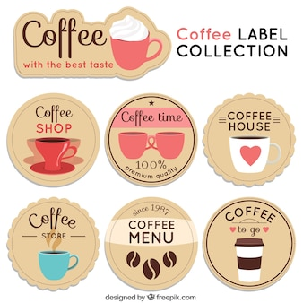 Collection of round coffee stickers in vintage style