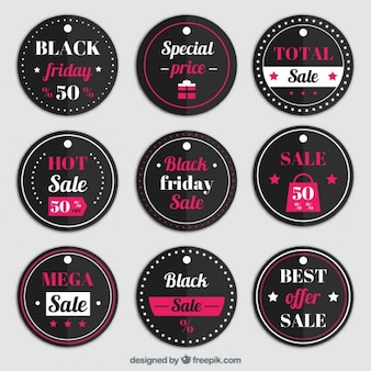 Collection of round labels for black friday