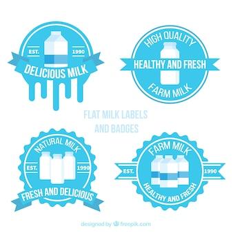 Collection of round milk stickers