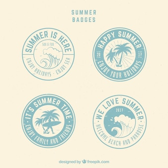 Collection of round summer badges in retro style