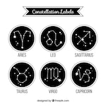 Collection of rounded black labels with constellations