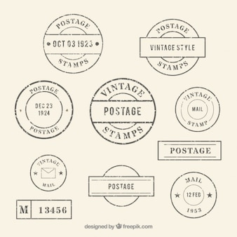 Collection of rounded vintage postage
