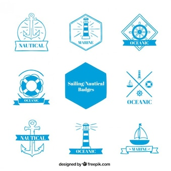 Collection of sailing badges in blue color