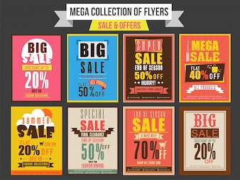 販売および割引のコレクションチラシ、テンプレートおよびバナーのデザイン