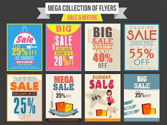 Collection of Sale and Discount Offer flyers, templates and banners design