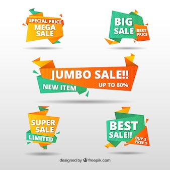 Collection of sale origami banner