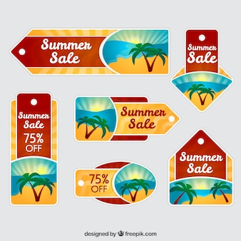 Collection of sale summer tag with palm trees