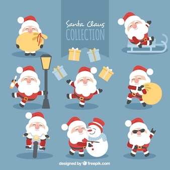 Collection of santa claus doing different activities