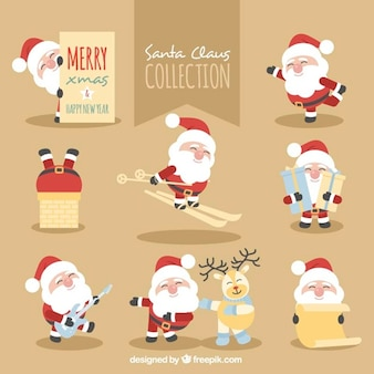 Collection of santa claus doing various activities