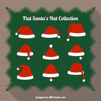 Collection of santa claus red hats