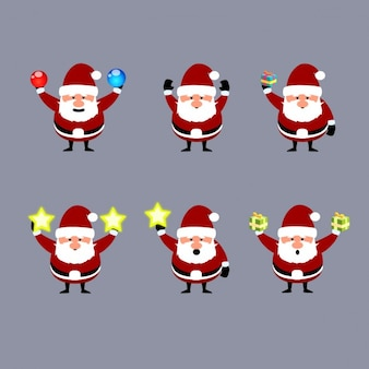 Collection of Santa Claus with christmas decorations