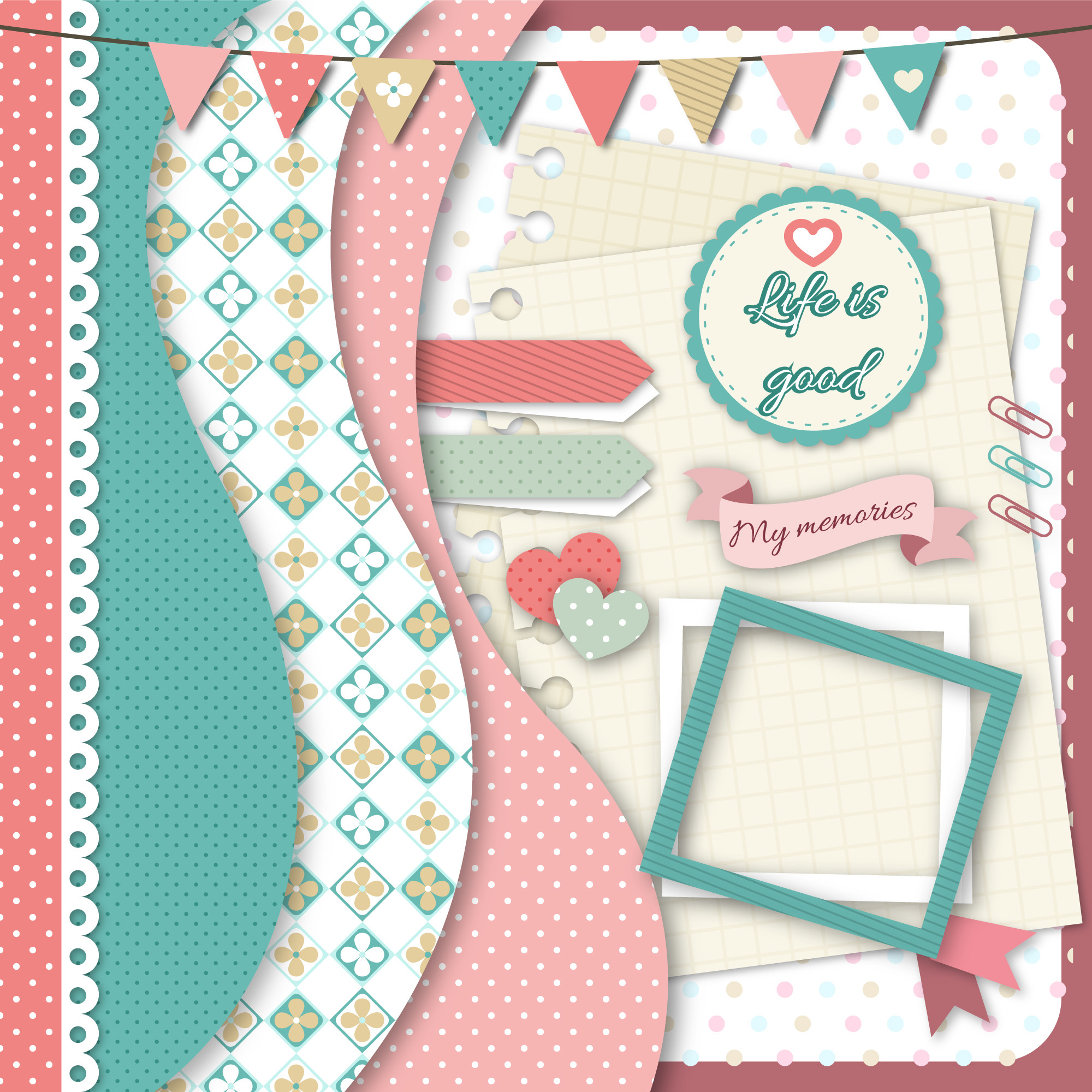 Collection of scrapbook supply