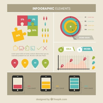 Collection of several infographic charts in flat design