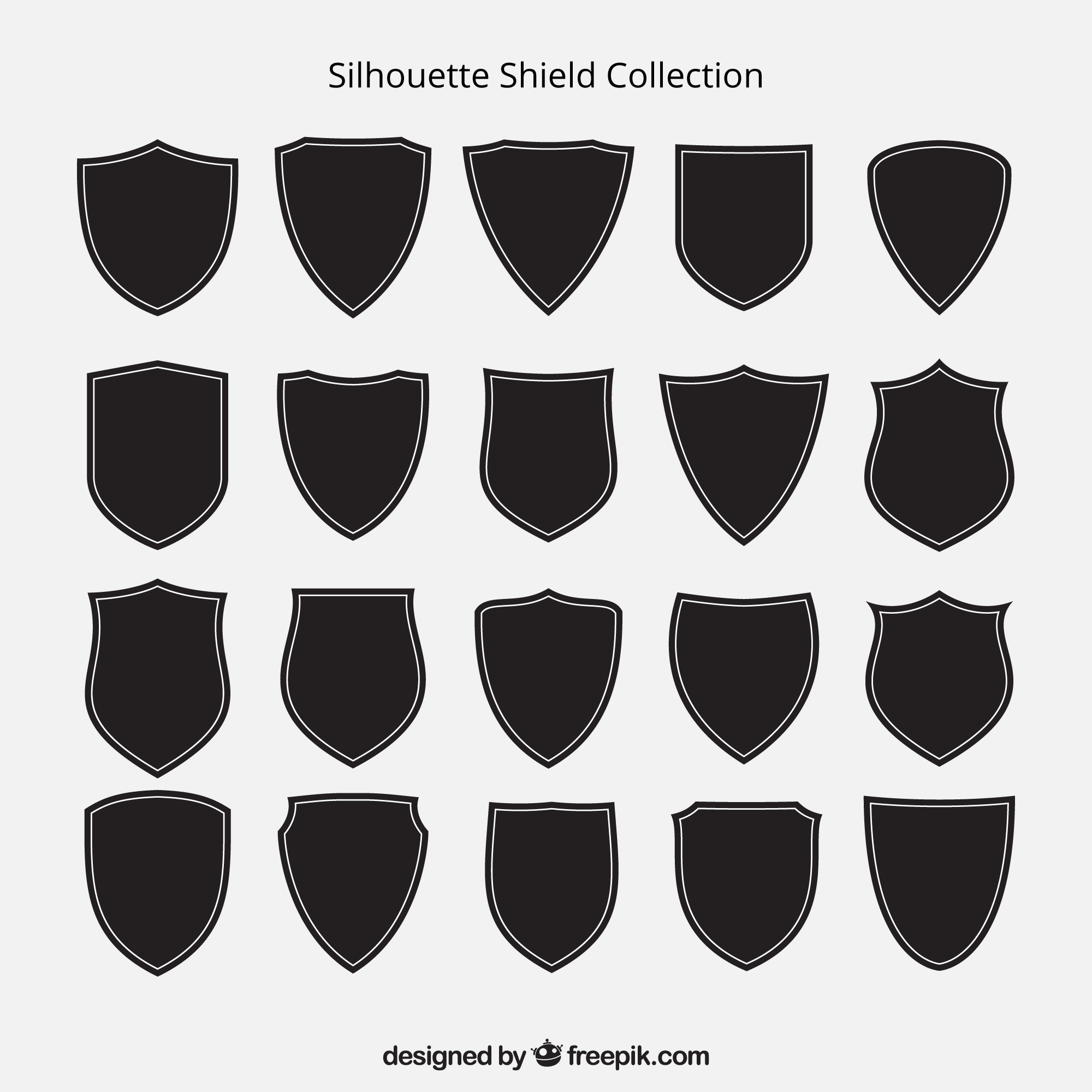 Collection of shield silhouettes
