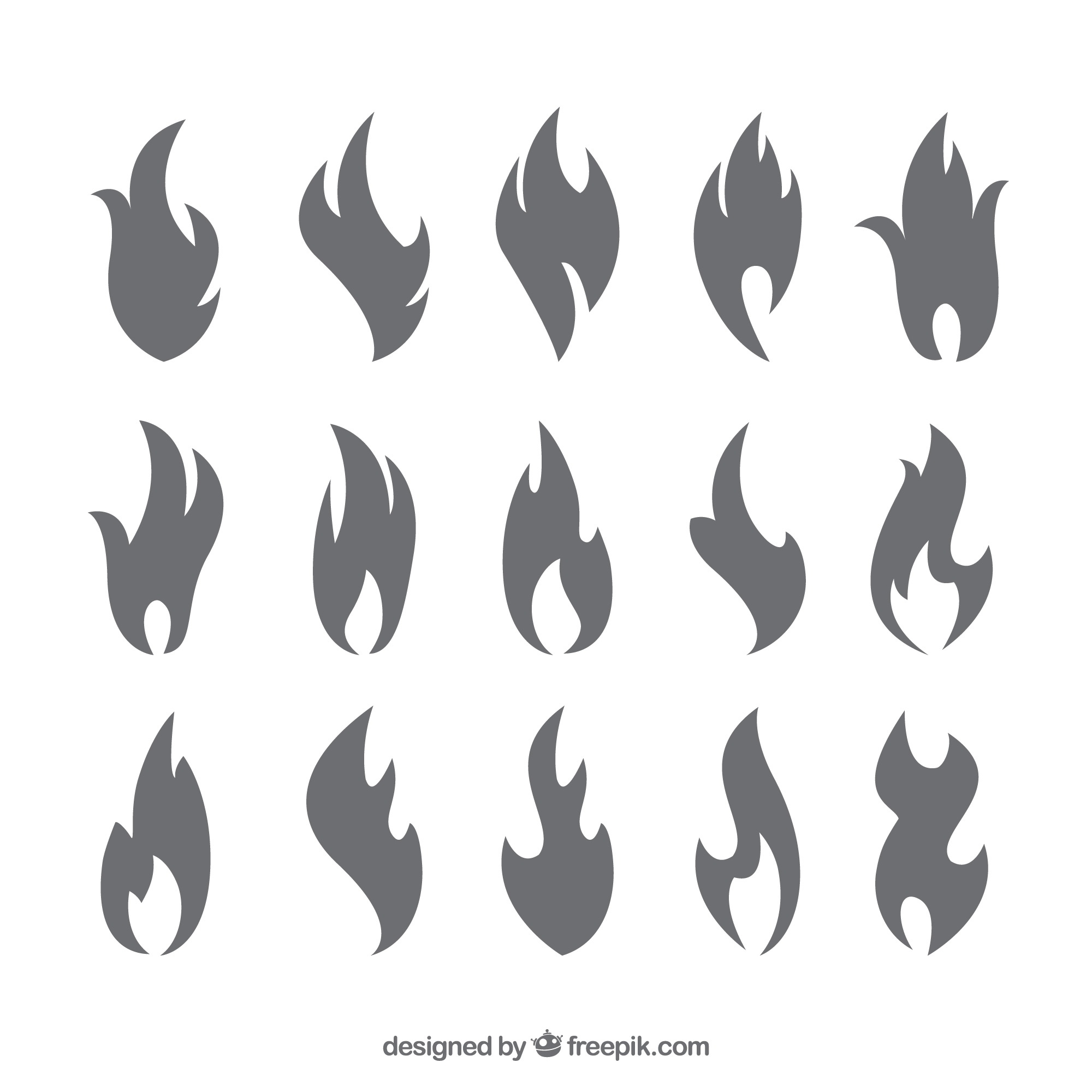 Collection of silhouettes of flames