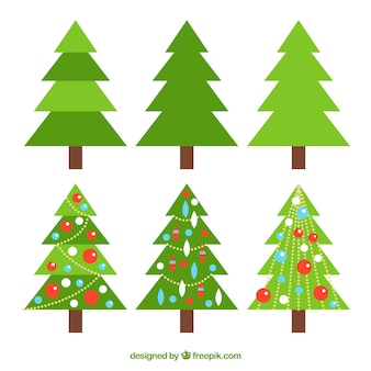 Collection of simple and christmas trees with ornaments