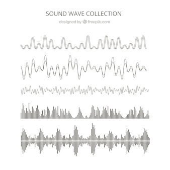 Collection of six abstract sound waves