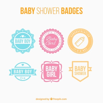 Collection of six baby shower stickers