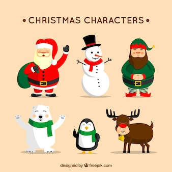 Collection of six christmas characters in flat design