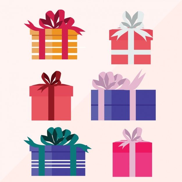 Collection of six christmas gifts in flat design