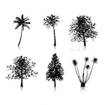 Collection of six different tree silhouettes