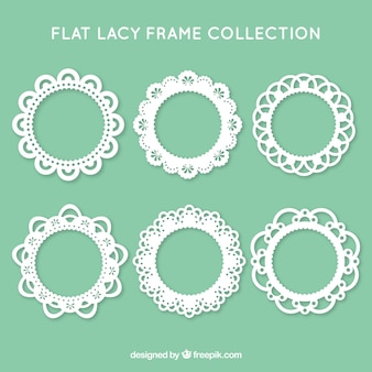 Collection of six lace frame