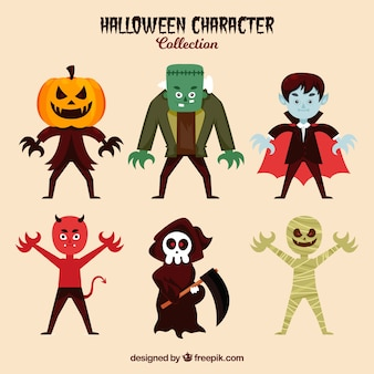 Collection of six typical characters of halloween