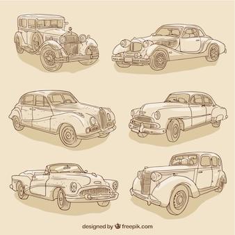 Collection of sketches elegant vintage car