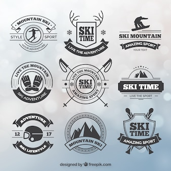 Collection of ski badges in vintage style