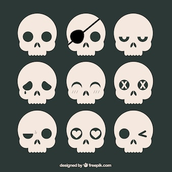 Collection of skulls with expressions