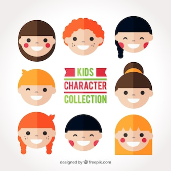 Collection of smiling children avatars in flat design