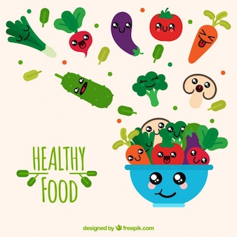 Collection of smiling healthy food