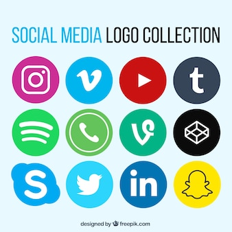 Collection of social network logos in flat design