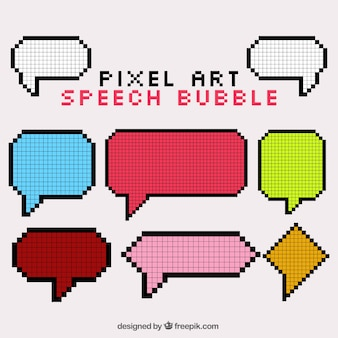 Collection of speech bubbles in pixel art style