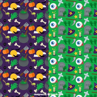 Collection of spooky halloween patterns