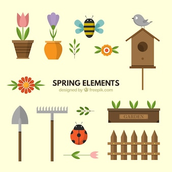 Collection of spring elements in flat design