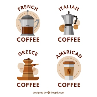Collection of stickers with different types of coffee maker