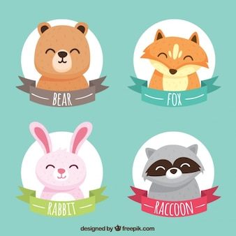 Collection of stickers with smiling animals