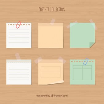 Collection of sticky notes in flat design