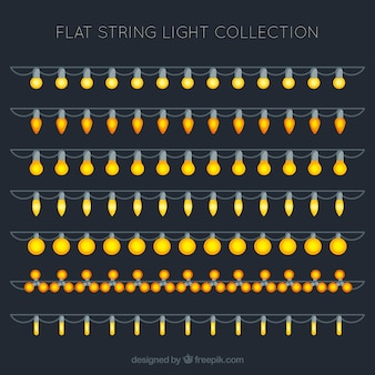 Collection of string lights in flat style