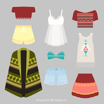 Collection of stylish boho clothes