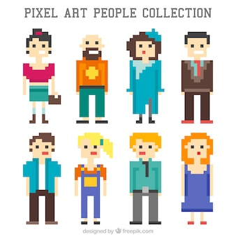 Collection of stylish pixilated people