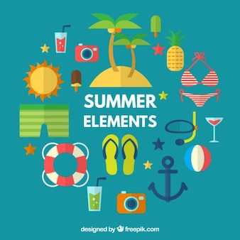 Collection of summer accessories and elements in flat design