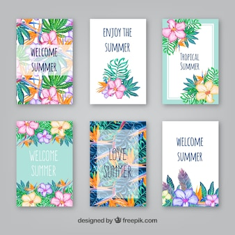 Collection of summer cards with watercolor flowers