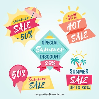 Collection of summer stickers with discounts