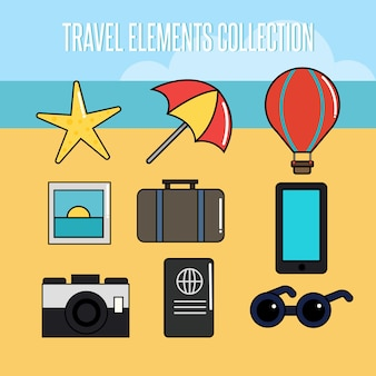 Collection of summer travel element