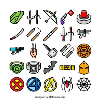 Collection of superhero icons